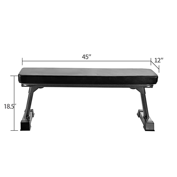 Amazon.com: Finer Form Gym Quality Foldable Flat Bench for Multi-Purpose Weight Training and Ab Exercises (Black): Sports & Outdoors