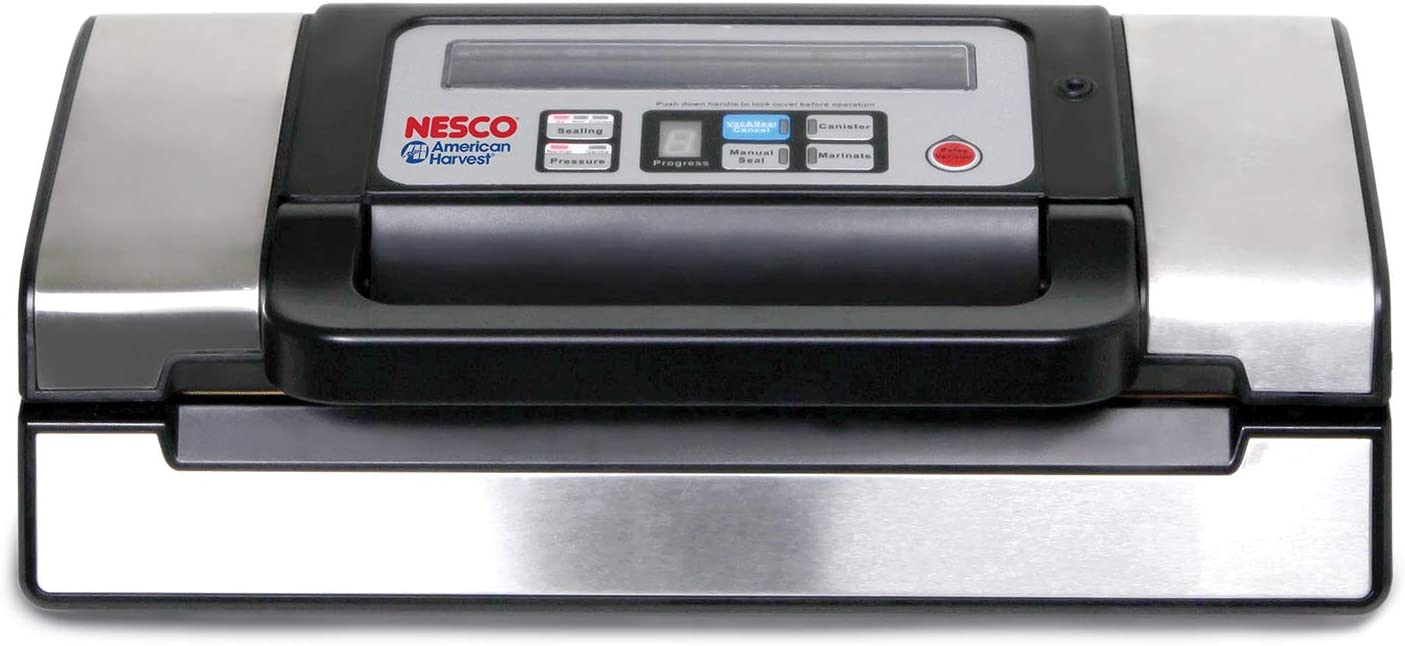 NESCO VS-12, Deluxe Vacuum Sealer with Bag Starter Kit and Viewing Lid, Compact Design, Silver (Renewed)