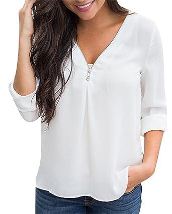 Blusa Gasa Manga Larga Camisas de Mujer Blusones Camisetas Largas Top Cuello en V Boton Tops