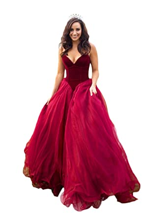 Womens Velvet Puffy Prom Dresses Long 2018 Red Prom Dress Plus Size