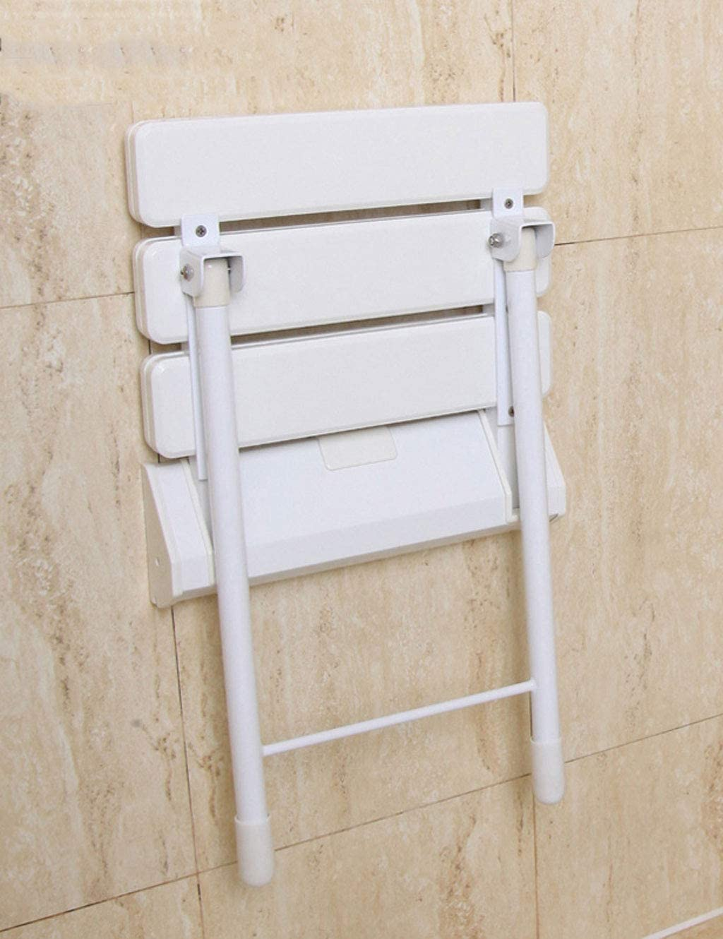 NIHAOA Portable folding chair Legged Bathroom Folding Chair Elderly Disabled Children Wall-Mounted Bathing Stool Seat,Yellow (Color : White) White