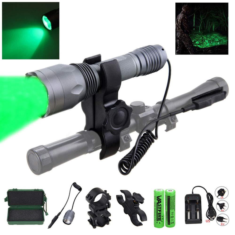 VASTFIRE 350 Yard CREE LED Green Flashlight Kit Hog Coyote Varmints Predator Long Range Night Hunting Light (Flashlight + Dual Pressure Switch + 2 X 18650 Batteries + Charger + Barrel + Scope Mounts) by VASTFIRE