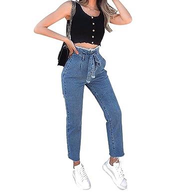 874c08d7cf Image Unavailable. Image not available for. Color: Small-shop Paper Bag  Waist Pants Vintage Women ...