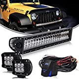"AUSI DOT Approved 22"" 120W Spot Flood Combo Led Light Bar For Driving Fog Lamp Front Bumper Backup Roof Rack Grill Fit ATV Golf Cart Duck Boat Jeep Zero Turn UTV Ford F150 F350 Truck Tacoma 4-wheeler 12V-24V"