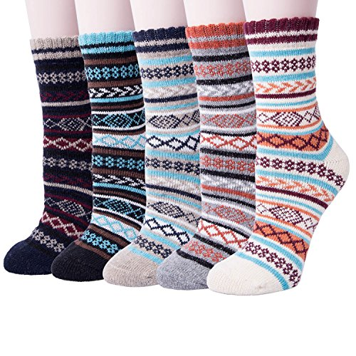 Womens Thick Knit Warm Casual Wool Crew Winter Socks,  5 Pack ,Mixed Color, Shoe Size 5 to -