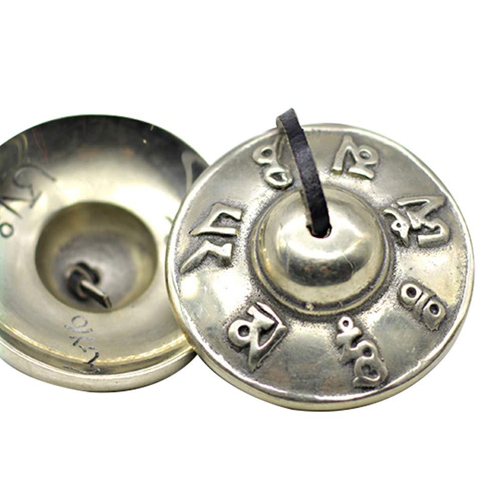 Tingsha Cymbals Tibetan Lucky Symbol Embossed Meditation Yoga Bell Chimes - OM Mane Padme Hum Symbols Embossed - copper alloys by Rajmart