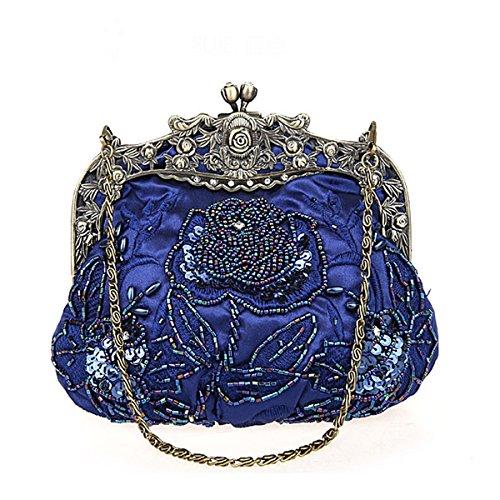 femmes main à noces sac Bleu bal soirée Flada Vintage de dames et embrayages marine perles sequins nOUqUYE0Xw