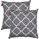 PacifiCasual Decoration Throw Pillow Covers Square Toss Pillow Case Gray and White Quatrefoil 18 x 18 Inch for Indoor and Outdoor Patio Furniture, Set of 2