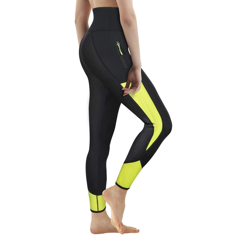 Women Neoprene Sauna Slimming Pants Hot Thermo Sweat Body Shaper Capri for Weight Loss Burning Fat (Black Green#4 Leggings, S)
