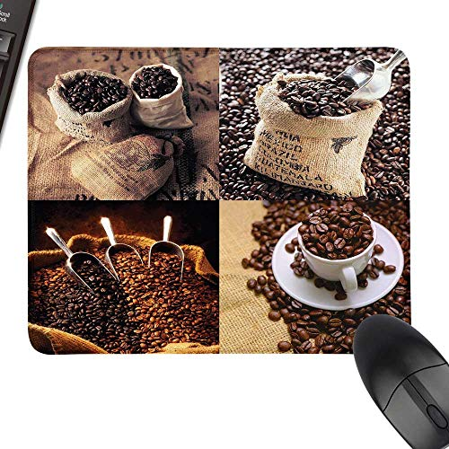(Coffee Thicken Mouse Pad Rustic Collage of Images Showing Different Kinds of Roasted Grains Laptop Desk Mat, Waterproof Desk Writing Pad 23.6