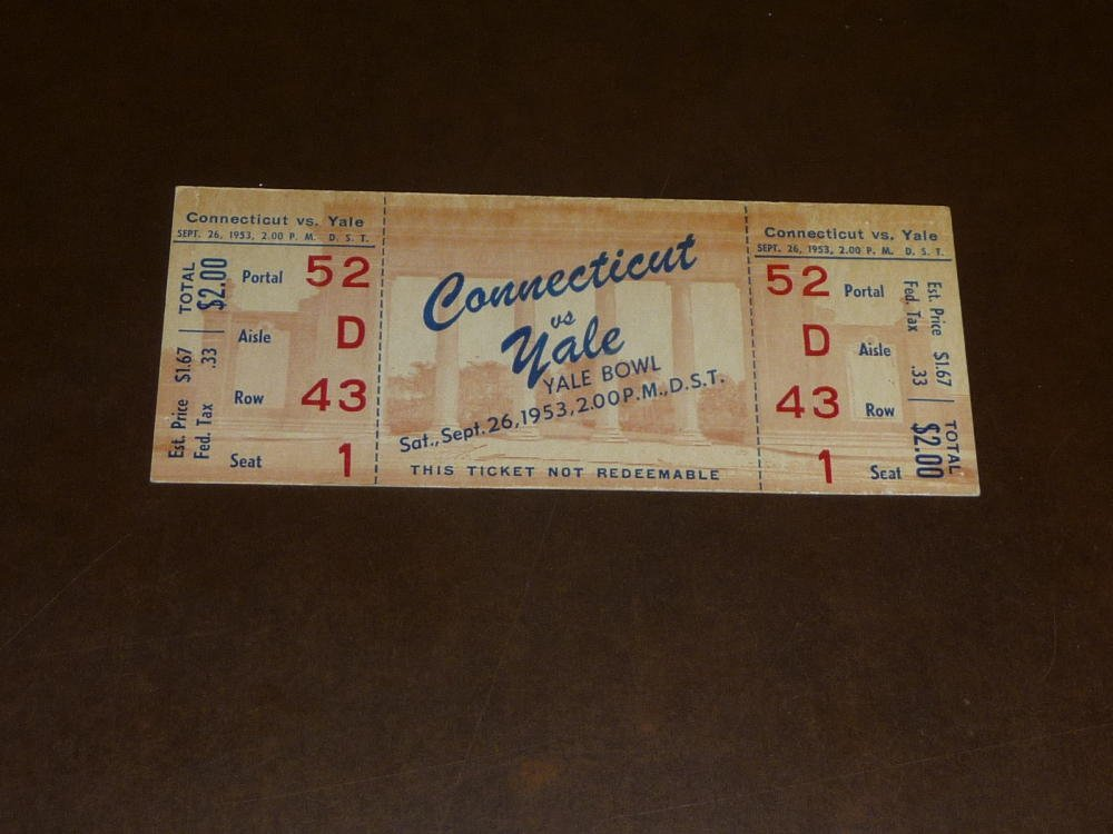 1953 UCONN AT YALE COLLEGE FOOTBALL FULL TICKET EX MINT