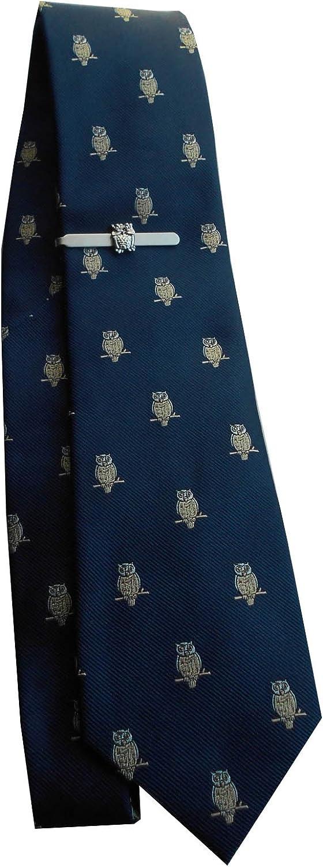 Set Búhos Pasador de corbata seda corbata plateada. Color azul ...