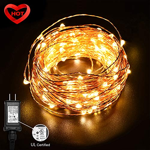 Ylife 33Ft 100 LED Strings Light, Warm White Fairy Lights Waterproof, Flexible Copper Wire, Decorative Lights for Festival Party, UL Adapter Included]()
