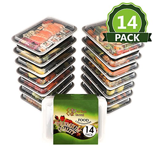 ''Flash Sale'' [14-PACK] 1 Compartment Meal Prep Containers with Airtight...