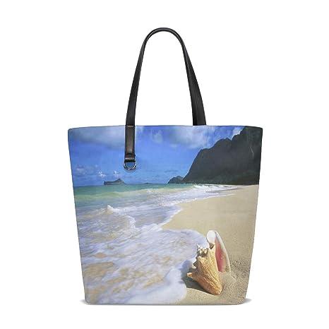Amazon.com | Hawaii Sea-Shells Tote Bag Purse Handbag Womens ...
