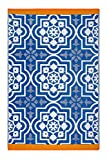 Fab Habitat Reversible, Indoor/Outdoor Weather Resistant Floor Mat/Rug Puebla - Blue (4' x 6')