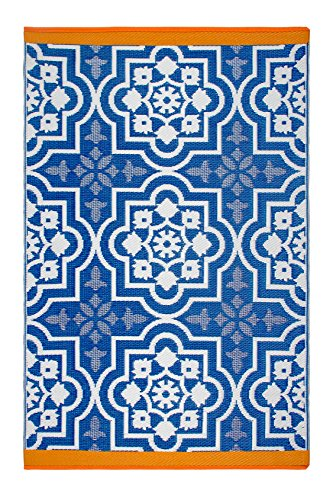 - Fab Habitat Reversible, Indoor/Outdoor Weather Resistant Floor Mat/Rug Puebla - Blue (6' x 9')