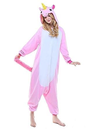 f3f49e5d0f Einhorn Jumpsuit Schlafanzug Damen Einhorn kostüm Tier Jumpsuit Erwachsene  Flanell Cosplay zum Karneval Fasching (Pferd