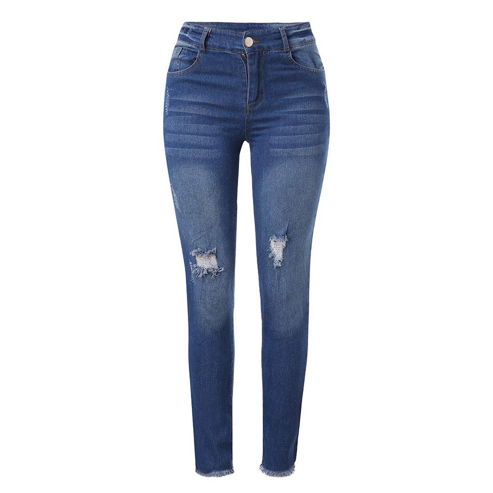 High Waisted Ripped Jeans for Women,Ladies Girls Classic Hole Stretch Slim Fitness Long Denim Pants Trousers