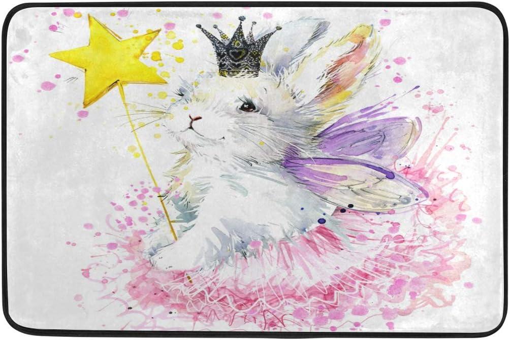 Naanle Entrance Doormat Pretty Rabbit Bunny Fairy In Crown Watercolor Paint Splash Graphic Indoor Door Mat Rug Non Slip Doormat 23 6x15 7 Inch Interlayer Polyester Machine Washable Polyester Fabric Garden