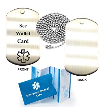Amazon Com See Wallet Card Stainless Steel Medical Alert Id Dog Tag