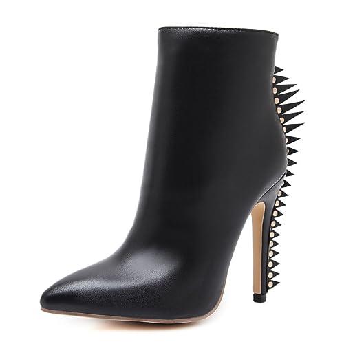QIN&X Señaló la mujer caliente tacones Stiletto Toe Botines cortos zapatos con plataforma: Amazon.es: Zapatos y complementos
