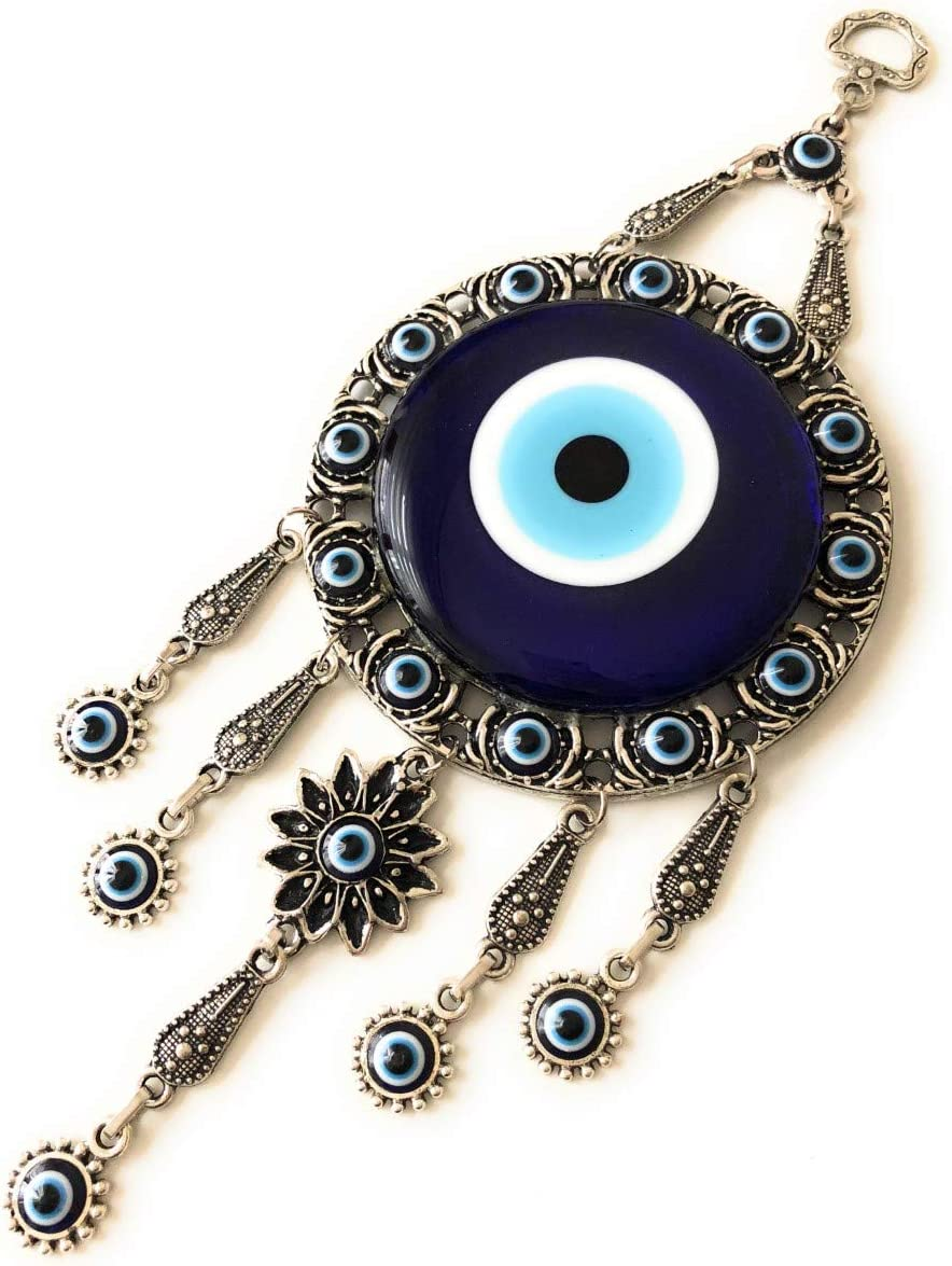Bion Turkish Blue Evil Eye (Nazar) Flower Hamsa Hand Amulet Wall Hanging Home Decor Protection Good Luck Blessing Housewarming Birthday Gift (Round)
