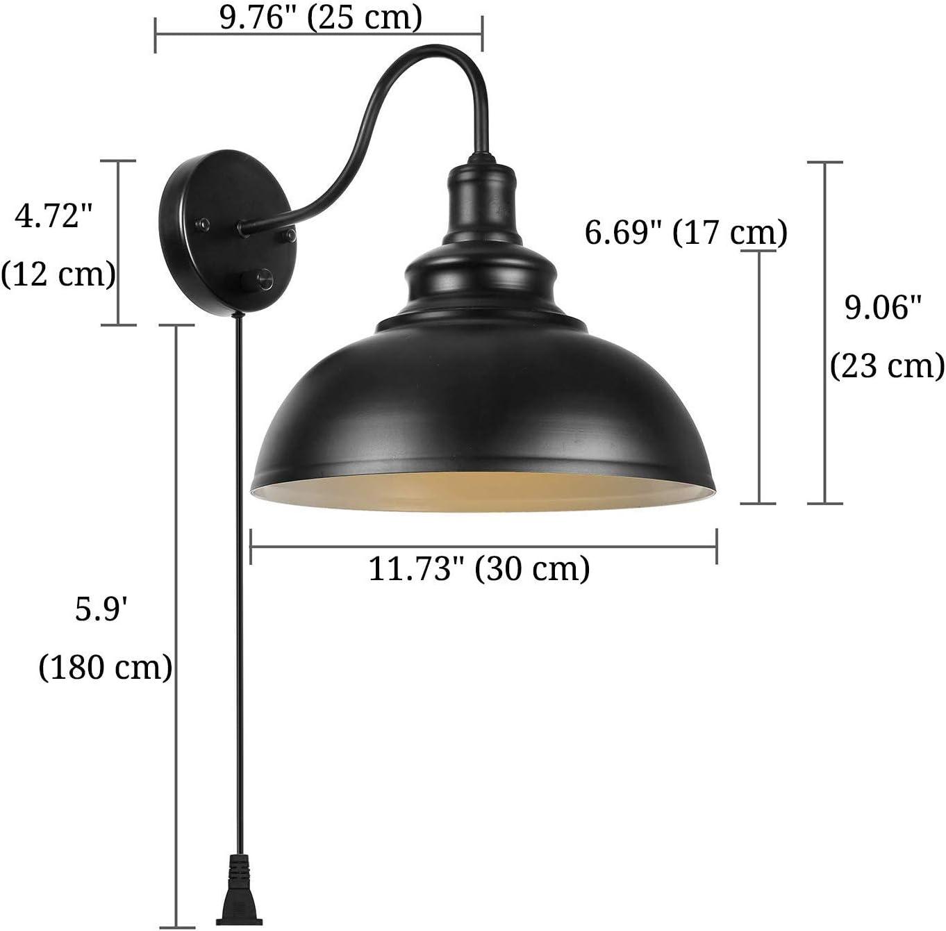 300+ Dimmbare Wandleuchte mit Schalter und Stecker Schnur Wandmontage  Wandbeleuchtung E12 Leseleuchte Schwarz Wandlampe Industrie Vintage  Nachttischlampe