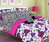Turquoise and Purple Comforter Set Girls Kids Bedding-Misty Zebra Tween Teen Dream Bed in A Bag. Queen Size Comforter Set, Sheet Set and Plush Toy Included-Love, Hearts-Hot Pink, Turquoise Blue, Purple, Black and White