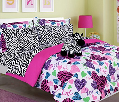 Girls Kids Bedding-MISTY ZEBRA Tween Teen Dream Bed In A Bag. (Double) filled SIZE Comforter set, sheet Set and Plush Toy Included-Love, Hearts-Hot Pink, Turquoise Blue, Purple, Black and White