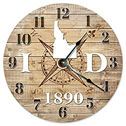IDAHO CLOCK Established in 1890 Decorative Round Wall Clock Home Decor Large 10.5 COMPASS MAP RUSTIC STATE CLOCK Printed Wood Image