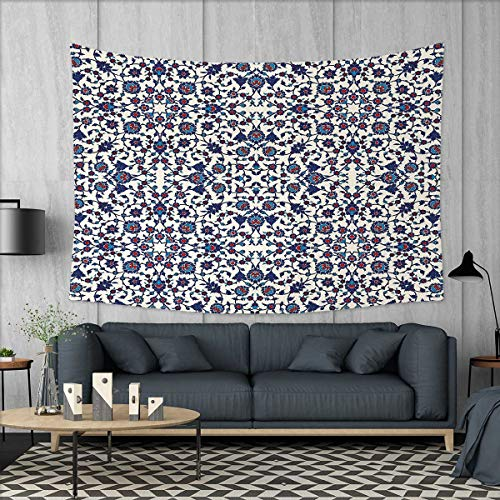 (Anniutwo Arabesque Home Decorations for Living Room Bedroom Moroccan Floral Pattern with Victorian Rococo Baroque Oriental Design Wall Tapestry W80 x L60 (inch) Cream Indigo Red Blue)