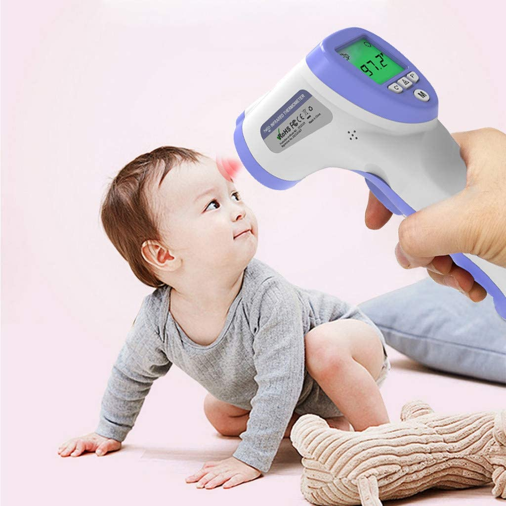 Kids and Adults TOPMU Touch-Free Forehead Thermometer with Storage Bag Non-Contact Temporal Thermometer with Instant Accurate Reading Fever Alarm and Digital LCD Display for Face Ear Body Digital Infrared Thermometer for Baby