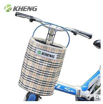 KHENG azul de la bici de montaña bicicleta plegable lona cesta