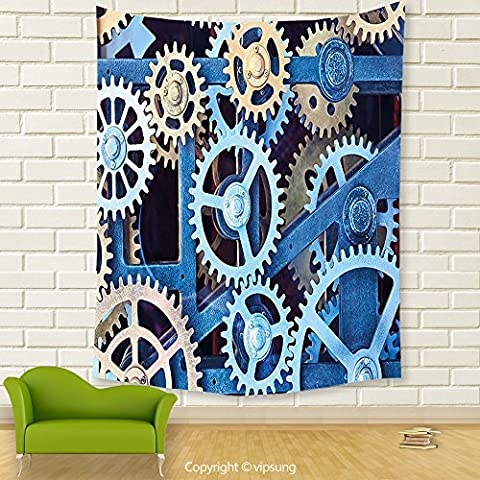 Vipsung House Decor Tapestry_Clock Decor A Set Of Clock Gears Steel Cogwheels Pattern Mechanical Theme Design Blue And Sand Brown_Wall Hanging For Bedroom Living Room (Marilyn Monroe Bedroom Theme)