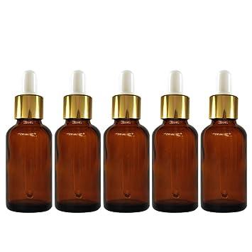 Vococal - 5 PC 5ML Portátil Botellas Vidrio Marrón Oscuro de Rellenable Vacío para Aceite Esencial