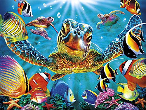 Vansiho DIY 5D Diamond Painting Full Drill Embroidery Cross Stitch Craft Canvas Wall Decor - Turtle(35X45CM/14X18inch) ()