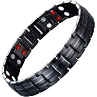 JFUME Magnetic Bracelet for Men Black Stainless Steel Bracelets 8.9Inches Adjustable with Link Remove Tool