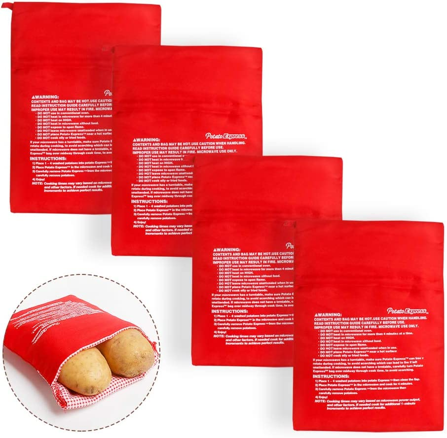 JOCHA Reusable Express Microwave Potato Cooker Bag Perfect Potatoes in Just 4 Minutes Microwave Potato Pouch Baking Bag Red,4 Pack