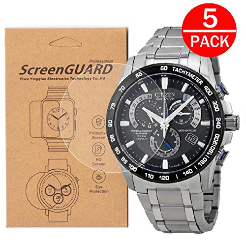 [5-Pack] For Citizen AT4010-50E Watch Screen Protector,Full Coverage Screen Protector for Citizen AT4010-50E Watch HD Clear Anti-Bubble and Anti-Scratch ()