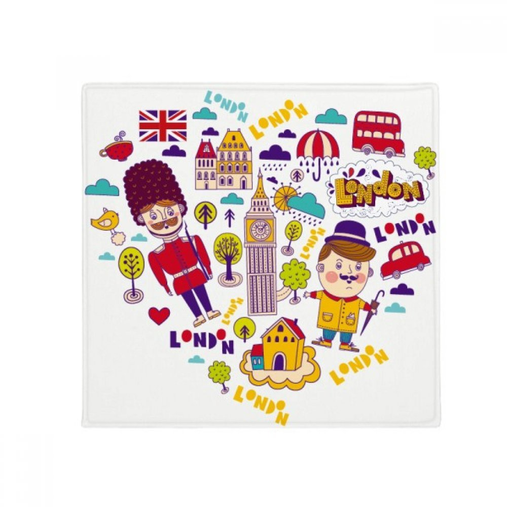 DIYthinker Heart Shape Red Telephone Booth Britain UK Anti-Slip Floor Pet Mat Square Home Kitchen Door 80Cm Gift