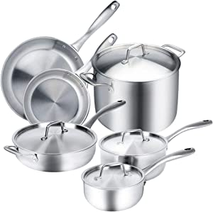 Duxtop Whole-Clad Tri-Ply Stainless Steel Induction Ready Premium Cookware 10-Pc Set