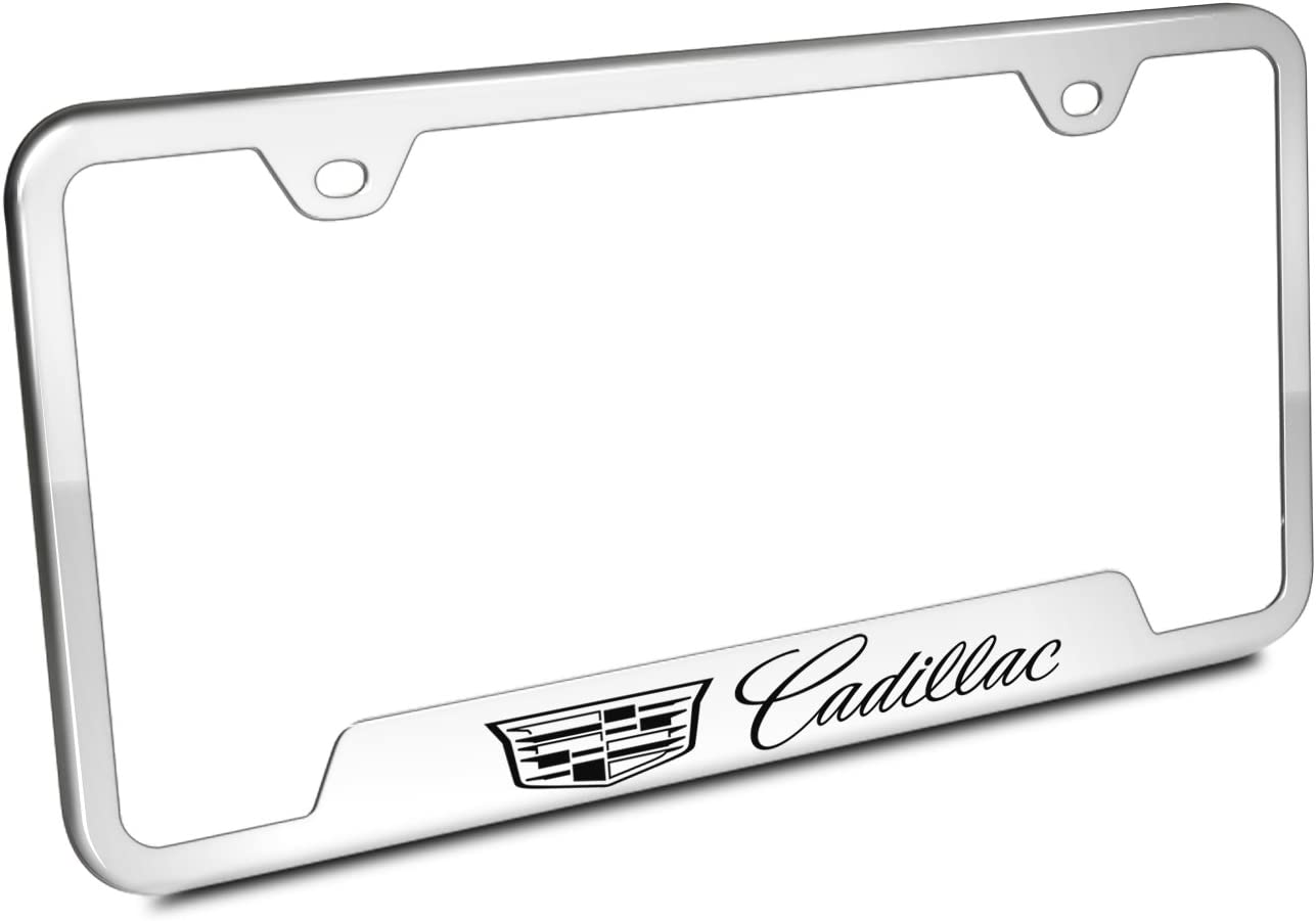 Automotive Gold Laser Etched Mirrored Cadillac Cut-Out Frame