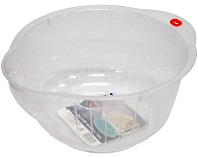 Inomata Japanese Rice Washing Bowl with Side and Bottom Drainers