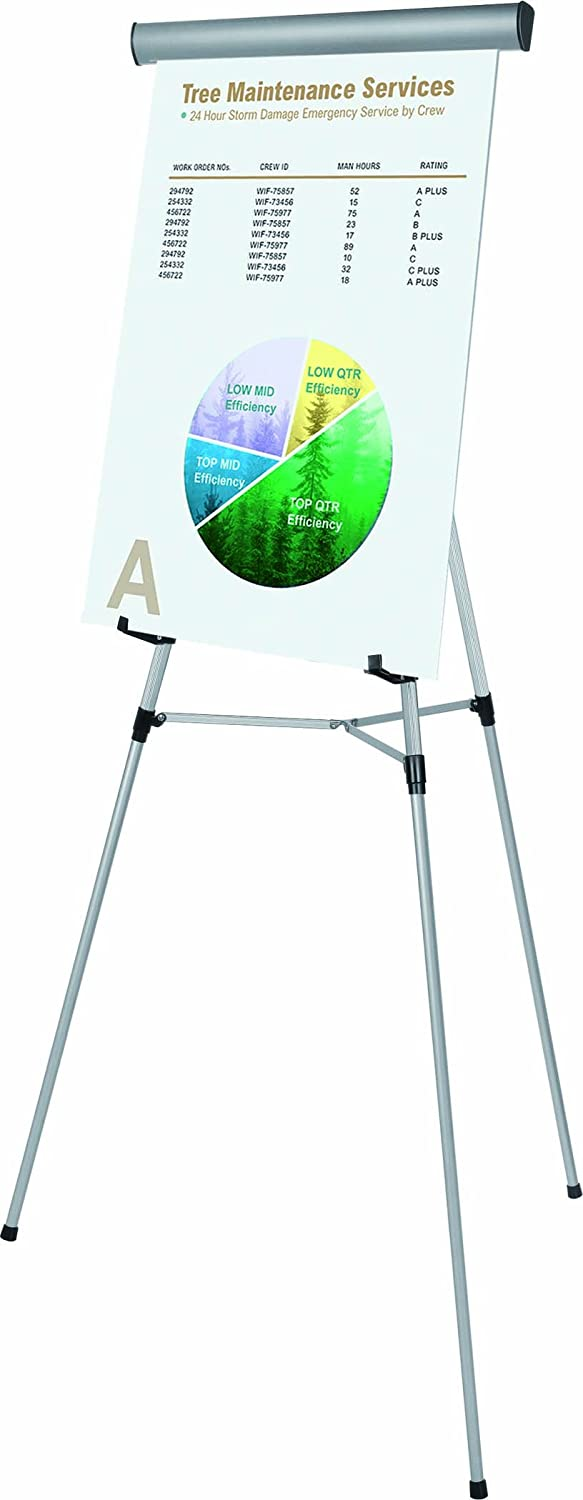 Bi-silque Visual Communication MasterVision 3-Leg Heavy-Duty Telescoping Display Easel with Easel Pad Retainer, Silver FLX05102MV