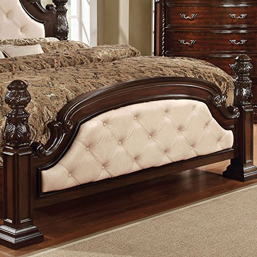 Monte Vista Dark Walnut Finish Ivory Leatherette Cal King Size 6-Piece Bedroom Set