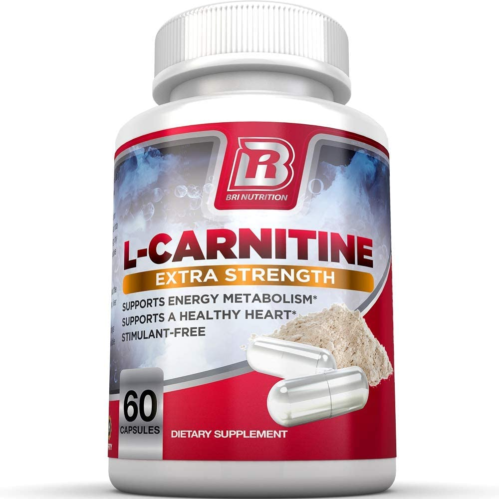BRI L-Carnitine - 1000mg Premium Quality Carnitine Amino Acid Supports Athletic Performance, Stamina and Heart Health; Stimulant Free Vegetable Cellulose Capsules (60 Count): Health & Personal Care