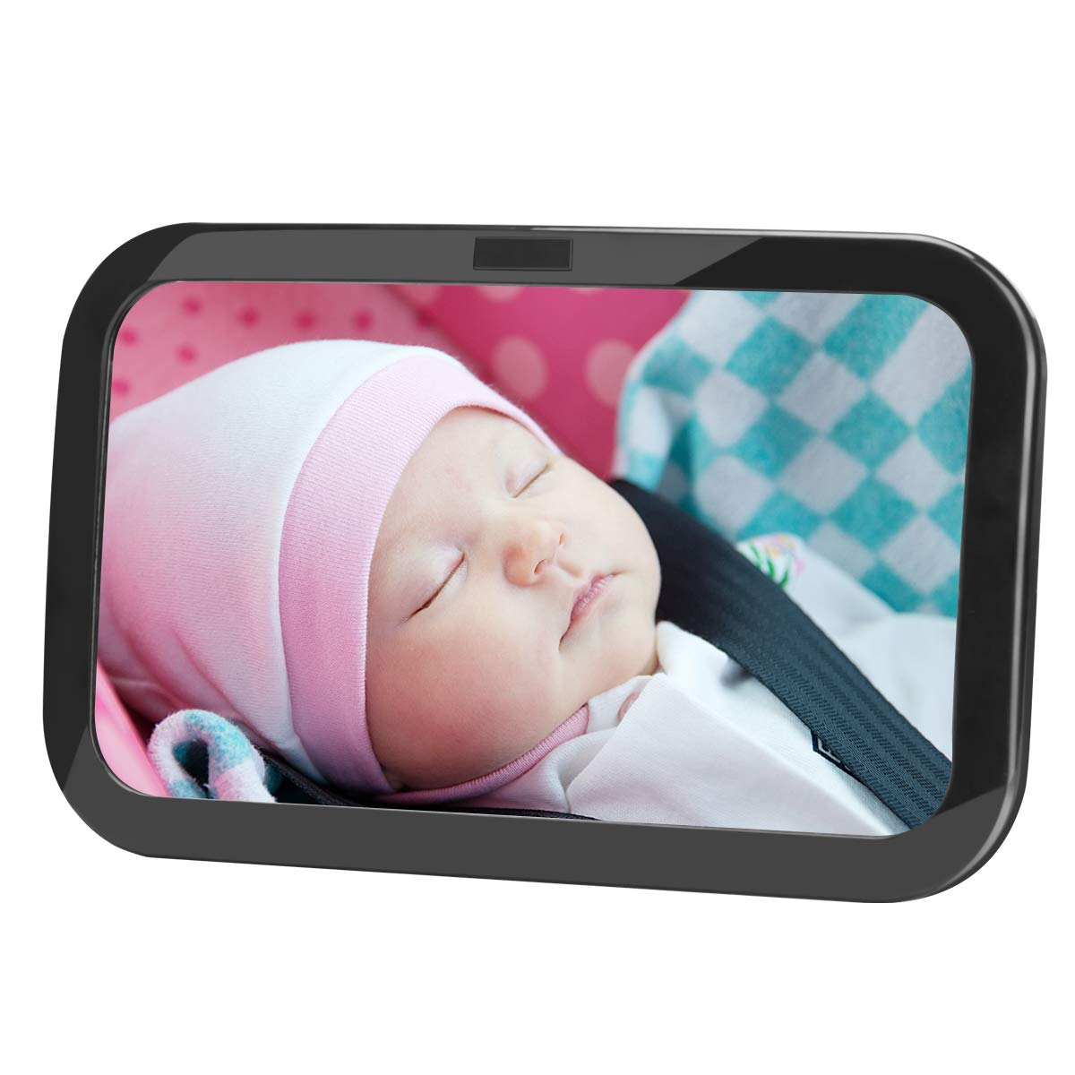 Luxebell Baby Rü cksitzspiegel, Sicherheitsspiegel mit Gurten passend fü r alle Fahrzeuge mit Kopfstü tze, Konvexspiegel aus bruchsicheren Acrylglas, Grö ß e 30 x 19 x 2 cm