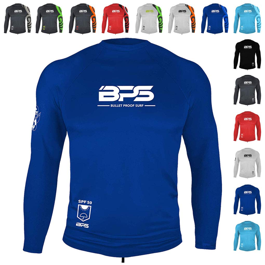 BPS Men's Long Sleeve Dry-Fit Rashguard UV 50+ Sun Protection - Blue, L by BPS