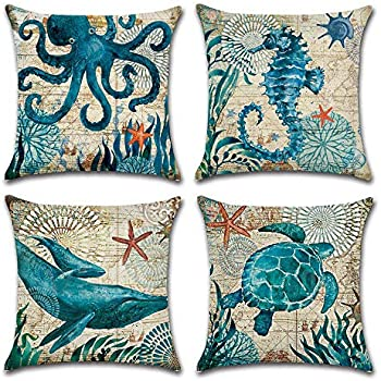 4-Pack Decorative Throw Pillow Cover 18x18, Mediterranean Ocean Coastal Beach Outdoor Pillow Cushion Cases for Couch, Sofa, Bed (W/O Insert) -Turtle Seahorse Whale Octopus